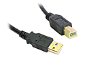2M USB 2.0 A to B Cable (Black / Gold Connectors)