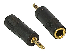 3.5mm Stereo Jack to 6.3mm Stereo Socket Adaptor