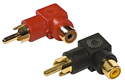 RCA Phono Male to Female Right Angle Adaptors - Black / Red