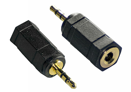 2.5mm Stereo Jack to 3.5mm Stereo Socket Adaptor