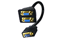 2 Way SVGA Monitor Y Splitter Cable - Gold