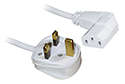 3M IEC Mains Power Cable - Right Angled / White
